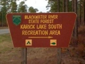 One entrance to the Blackwater River State Forest in Baker, Florida.